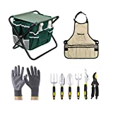 Garden Tool Set 10 Piece,Garden Tools Includes Garden Tote Folding Stool and 6 Hand Tools Cast-Aluminum Heads Photo, best price $52.99 new 2019
