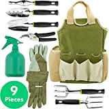Vremi 9 Piece Garden Tools Set - Gardening Tools with Garden Gloves and Garden Tote - Gardening Gifts Tool Set with Garden Trowel Pruners and More - Vegetable Herb Garden Hand Tools with Storage Tote Photo, best price $69.99 new 2018