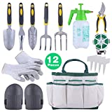 Sonyabecca 12pcs Garden Tools Set Gardening Gift Kit Ergonomic Gardening Tools with Garden Tote 6 Hand Tools Anti-Cutting Gloves Sprayer Knee Pads Plant Labels Plant Rope Photo, best price $79.99 new 2019