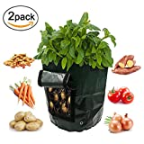 2-Pack 10 Gallon Garden Potato Grow Bag Heavy Duty Vegetables Planter Bags with Handles and Access Flap for Potato, Carrot Onion Photo, best price $20.99 new 2018