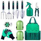 Garden Tool Set Gardening Bag Accessories 12 Pieces Kit/Home & Gardening Kneeler Pad/Stainless Steel Hand Digging Tools Pruner, Shovel, Fork, Rake, Shears, Weeder, Gloves, Water Sprayer, Plant Rope Photo, best price $39.99 new 2019